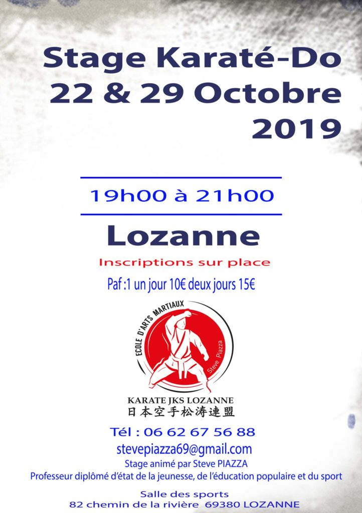 Stage Karaté 22 & 29 octobre 2019